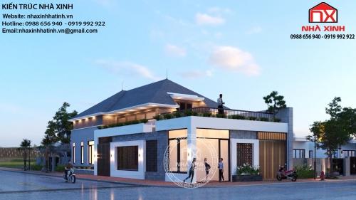 Mẫu thiết kế nhà một tầng áp mái tại thị trấn Cày, huyện Thạch Hà
