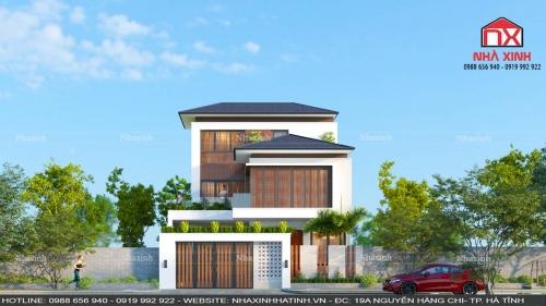 Thiết kế thi công nhà đẹp - thiết kế nhà phố hiện đại 2 tầng tại Hà Tĩnh