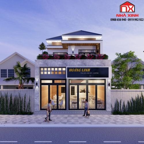 Mẫu nhà 2 tầng vừa ở vừa kết hợp kinh doanh đẹp, hiện đại ở Hà Tĩnh