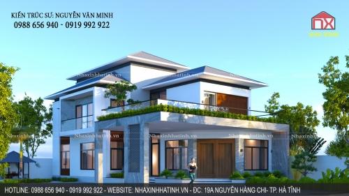Thiết kế nhà 2 tầng mái thái nhà anh Giáp - Kỳ Ninh - Kỳ Anh