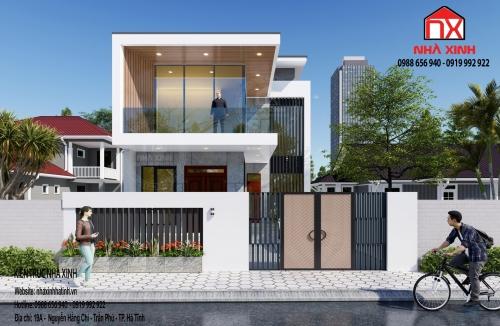 Thiết kế nhà đẹp - Thiết kế nhà phố 2 tầng tại TP. Hà Tĩnh – Nhà anh Minh