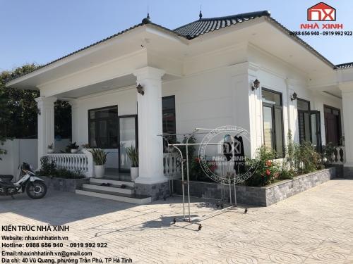 Tham khảo thực tế biệt thự tân cổ điển một tầng ở Hà Tĩnh