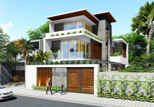 Thiết kế nhà phố 2 tầng rưỡi phong cách hiện đại tại Hà Tĩnh