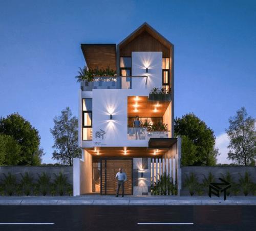 Thiết kế nhà phố đẹp có mặt tiền rộng 7m