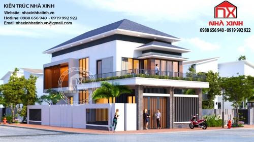 Thiết kế nhà 2 tầng mái Nhật - Những mẫu thiết kế nhà 2 tầng mái Nhật hiện đại đẹp tại Hà Tĩnh