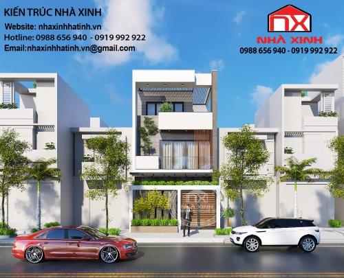 Thiết kế nhà 3 tầng đẹp tại Hà Tĩnh - nhà chị Trang