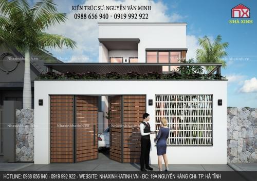 Thiết kế nhà 2 tầng mái bằng ở đường Hà Huy Tâp - TP. Hà Tĩnh